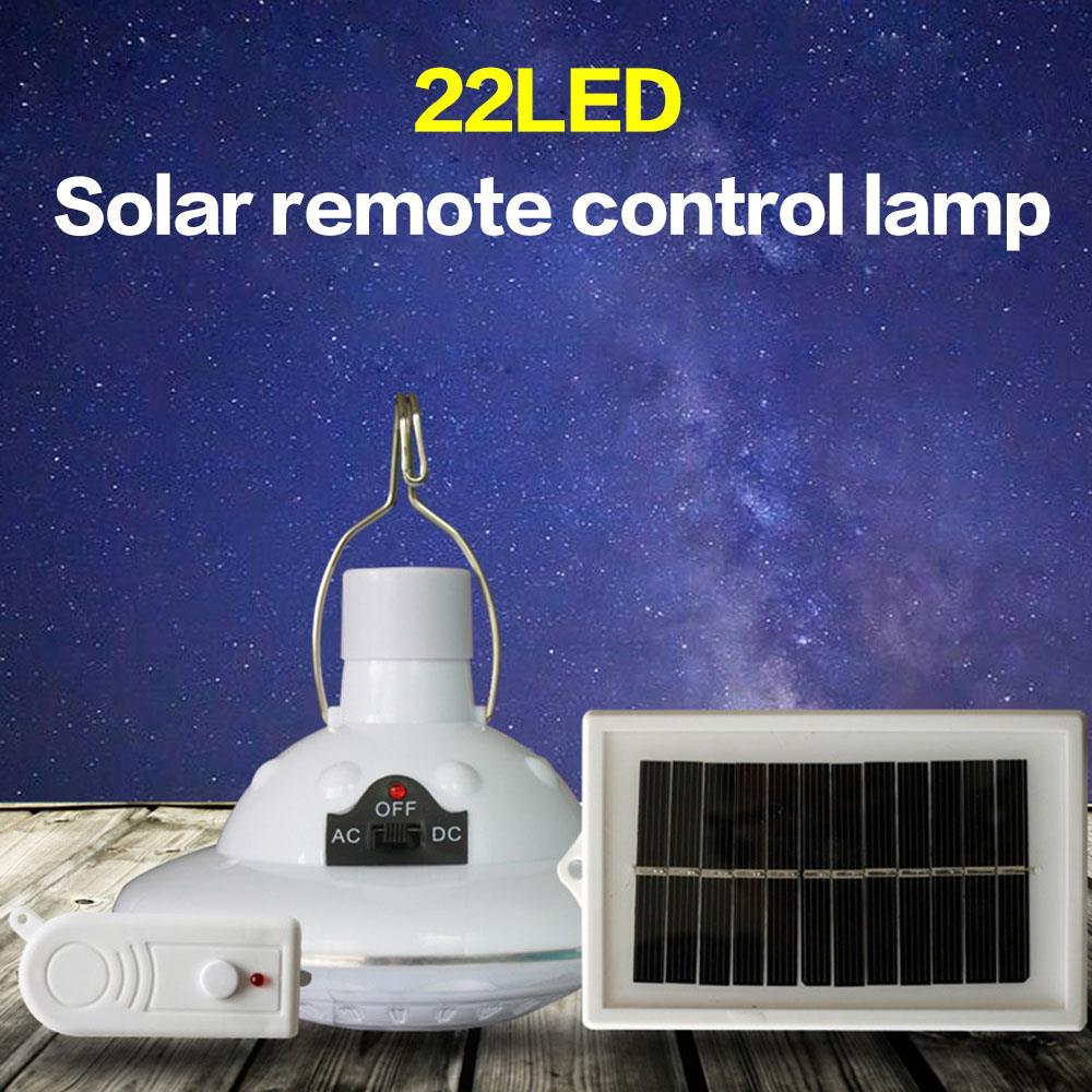 Linterna Solar de Camping, lámpara de tienda de luces, Control remoto, 22LED, portátil, superbrillante, multifunción, carga USB de viaje