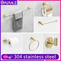 bathroom towel holder set gold stainless steel wall mount double towel bar ring toilet brush paper holder shelves hooks