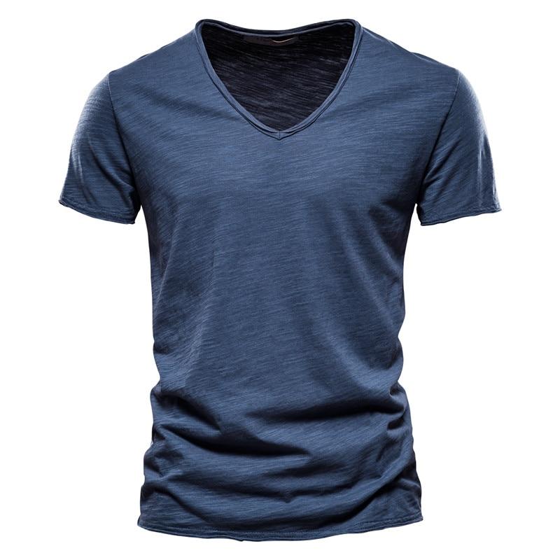 Brand Quality 100% Cotton Men T-shirt V-neck Fashion Design Slim Fit Soild T-shirts Male Tops Tees Short Sleeve T Shirt For Men