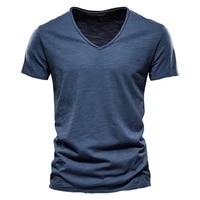 brand quality 100 cotton men t shirt v neck fashion design slim fit soild t shirts male tops tees short sleeve t shirt for men