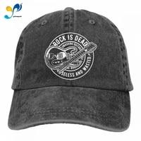 rock is dead vintage guitar heavy metal music baseball hat men women classic adjustable fashion athletic hat