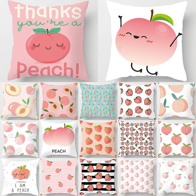 Rosa melocotón diseño de frutas cojines decorativos funda de almohada funda de cojín de poliéster Throw Pillow sofá decoración funda de almohada 40963
