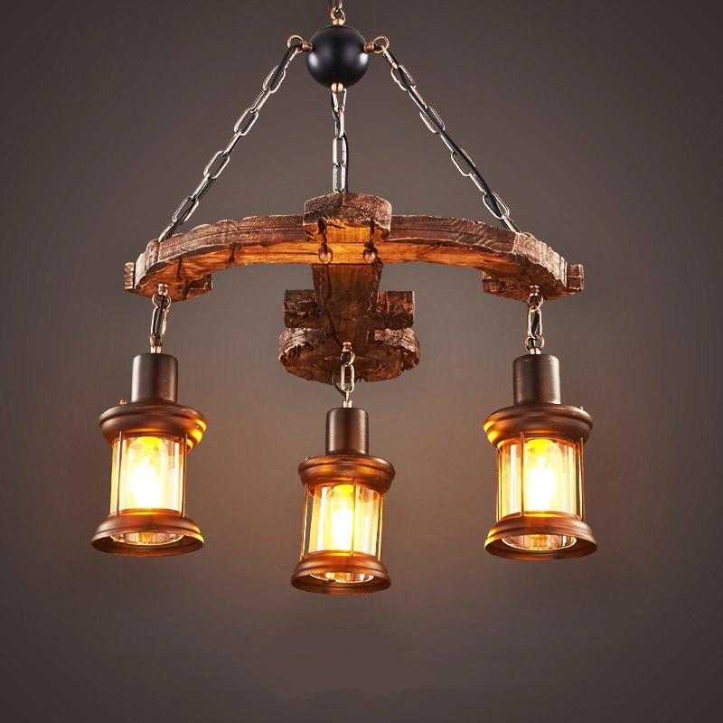 الرجعية مصباح معلق سفينة قديمة الخشب الثريا مطعم غرفة الطعام ضوء غرفة المعيشة فندق مقهى الديكور مصباح الزجاج droتحكم