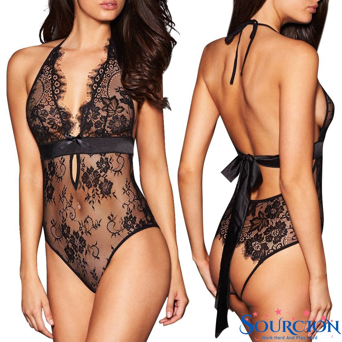 Sourcion Erotic Lingerie Sexy Porno Costumes Lace Siamese Perspective Three-Point Underwear G-string Clothes