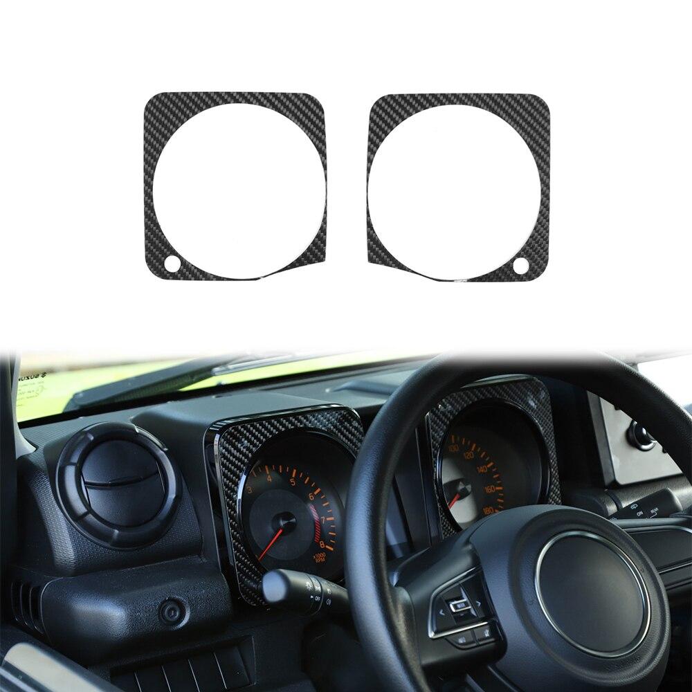 Interior del salpicadero del coche decoración cubierta calcomanías para Suzuki JIMNY 2019 fibra de carbono borde tablero pegatinas accesorios 2 uds