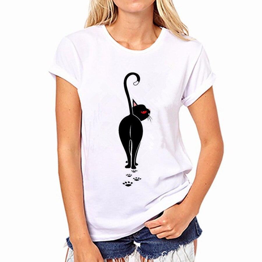 Streetwear estampado de gato rayado camisetas divertidas ropa de mujer 2020 de manga corta de verano tops lindos vogue harajuku Camiseta básica casual