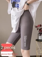 five points cycling pants ice silk leggings womens summer thin outer wear high waist large size tight dance sports