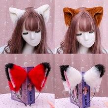 Diadema de pelo con orejas de gato para niña y mujer, accesorio para el cabello hecho a mano, con horquilla de felpa, gran oferta