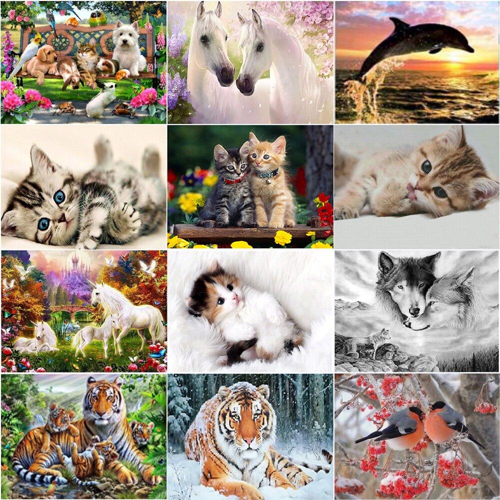 5D diamante pintura tigre gato perro animal DIY kit de punto de...
