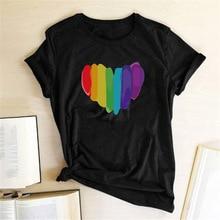 Color Love Heart Print Women T-shirts Fashion Female T-shirts Harajuku Graphic Tees Funny T Shirts Kawaii 90s Aesthetiic Clothes