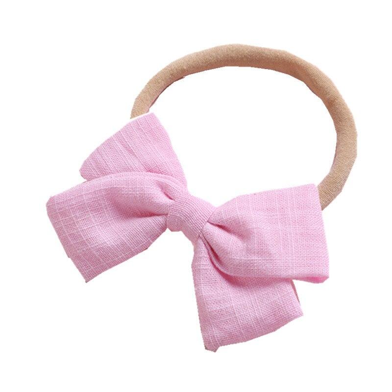 Bonita cinta elástica para el cabello con tocado de lazos de Color liso, accesorios para el cabello para niñas