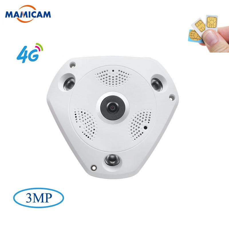 3MP IP Camera3G 4G GSM SIM Wireless IP Kamera IR-CUT Nachtsicht CCTV Video Überwachung Onvif Kameras Fisheye 360 grad