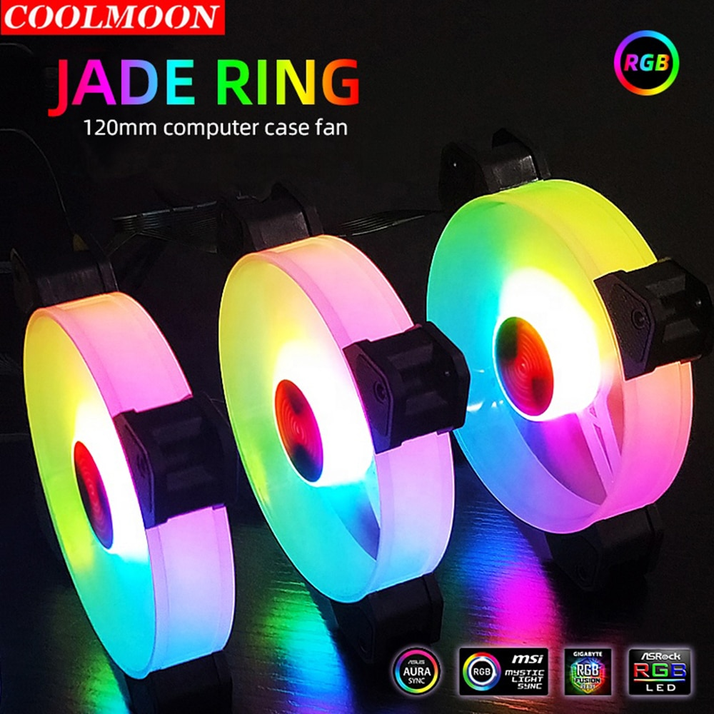 Coolmoon 6 Pin RGB PC Fan Gaming Heatsink Dissipation 120mm Cooling Cooler Fan Support Controller Remote Computer Chassis Case