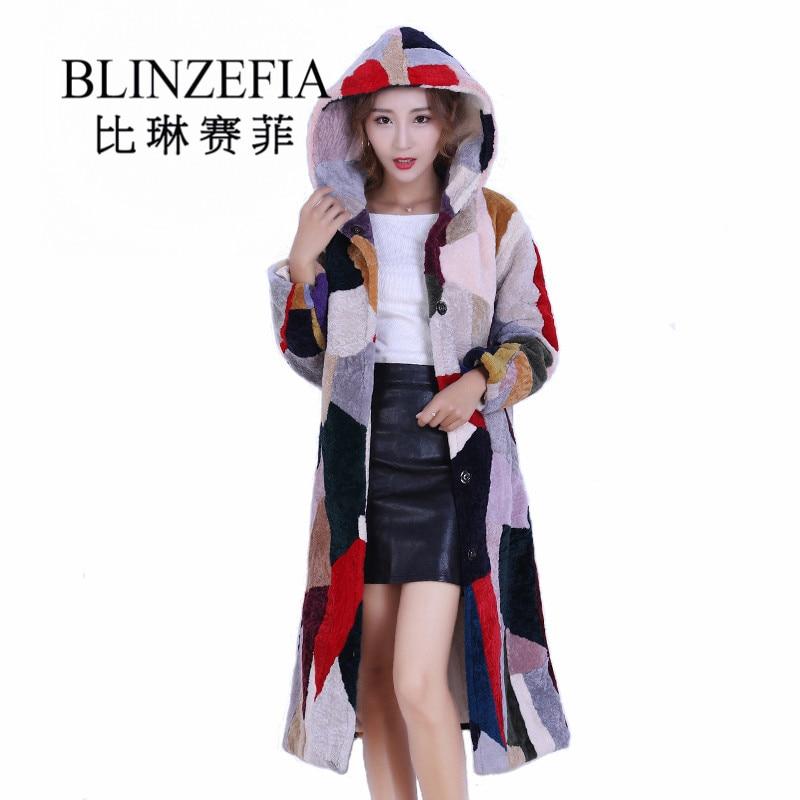 2020 blinzefia inverno feminino colorido genuino shearling casaco de pele russa quente