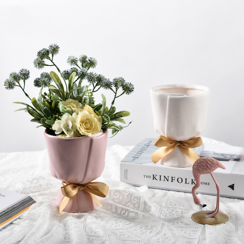 Vaso de Cerâmica Nordic Pós-moderna Fresco Buquê Modelagem Casa Criativa Flor Utensílios Sala Estar Desktop Ornamentos Varanda