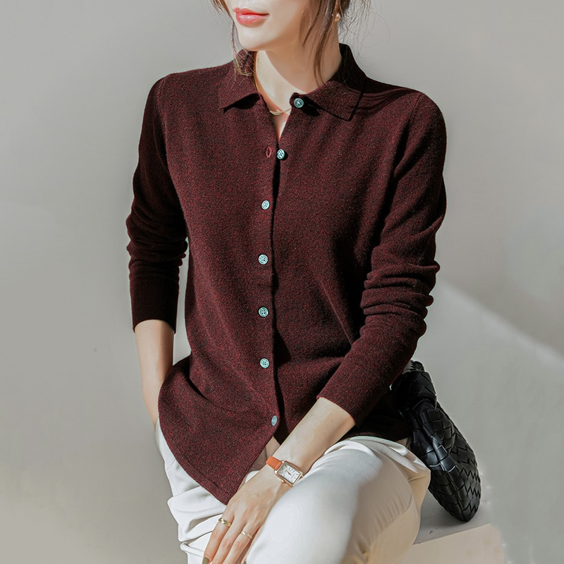 100% Merino Wool Knitted T-Shirts for Woman Hot Sale Solid-Color Long Sleeve Knitwears Female Jumpers enlarge