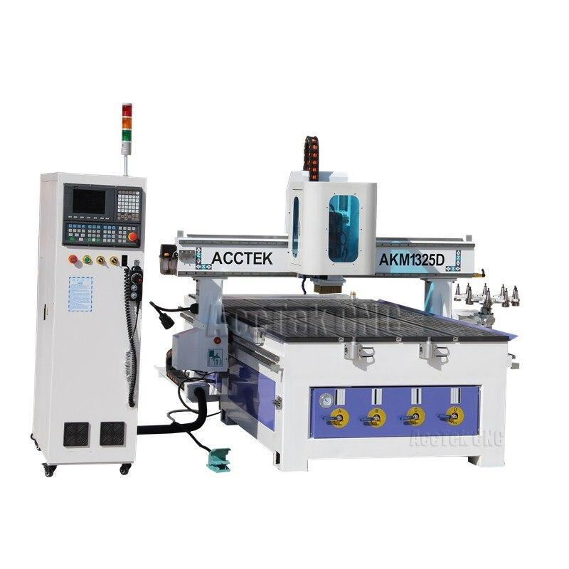 AKM1325D máquina automática de corte de madera 1325 atc enrutador cnc para madera, acrílico, Aluminio