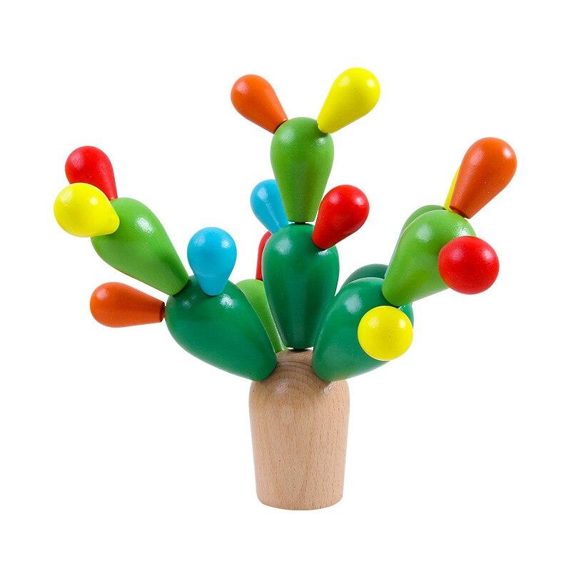 Деревянные строительные блоки, балансировка, кактусовые блоки, Монтессори, игрушки, подарки