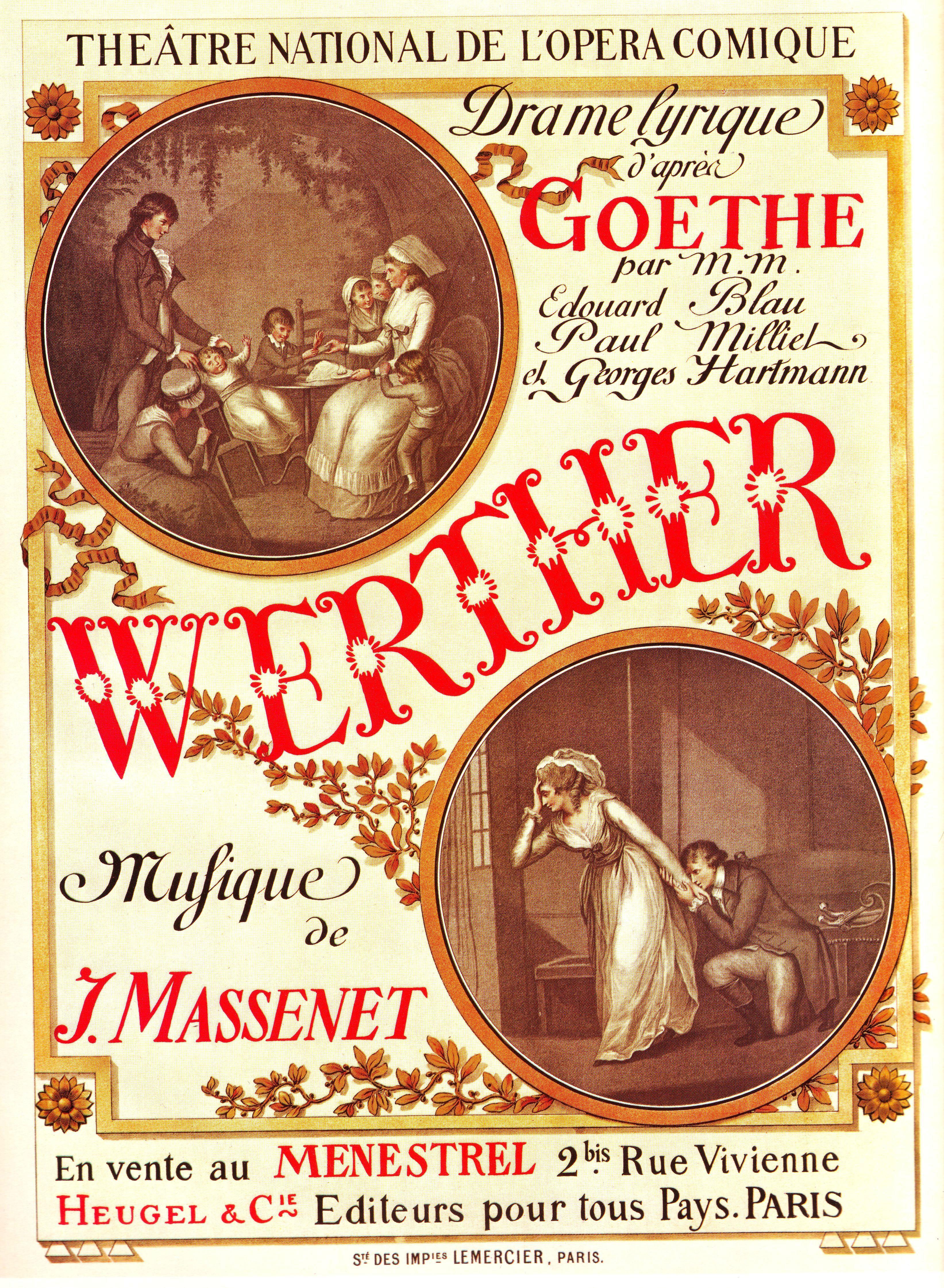 400X300MM Original-Antique-French-Advertising-Poster-1893-Paris-Opera-Goethe-Werther jumbo imán de nevera SFM-0550