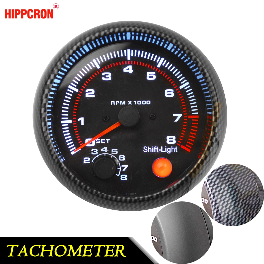 Tacómetro de 95mm de 3,75 pulgadas para coche de Color blanco LED medidor de coche de 12V de calibre automático [fibra de carbono o Color negro] TAC 0-8000 RPM