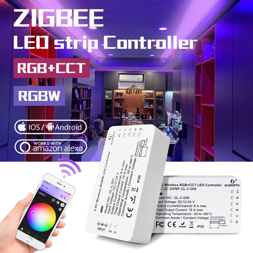GLEDOPTO DC12-24V Smart RGBW/RGBCCT LED ZigBee Streifen Controller, Automatisierung geräte, Alexa Voice control, telefon App control