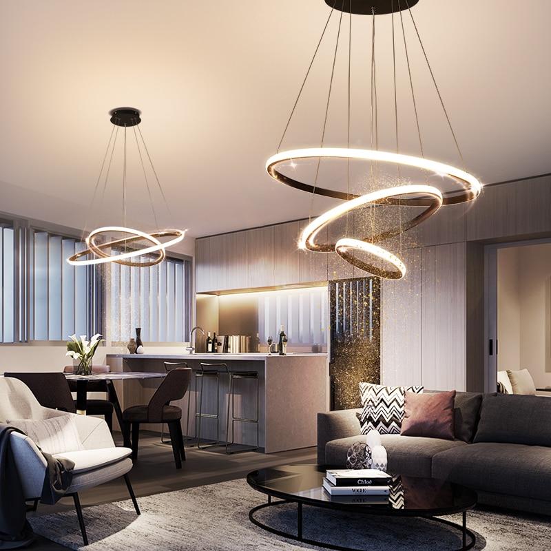 الشمال الحديثة غرفة المعيشة غرفة الطعام المطبخ متجر الملابس LED مصباح مع التحكم عن بعد يعتم الأسود/الذهب حلقة الثريا