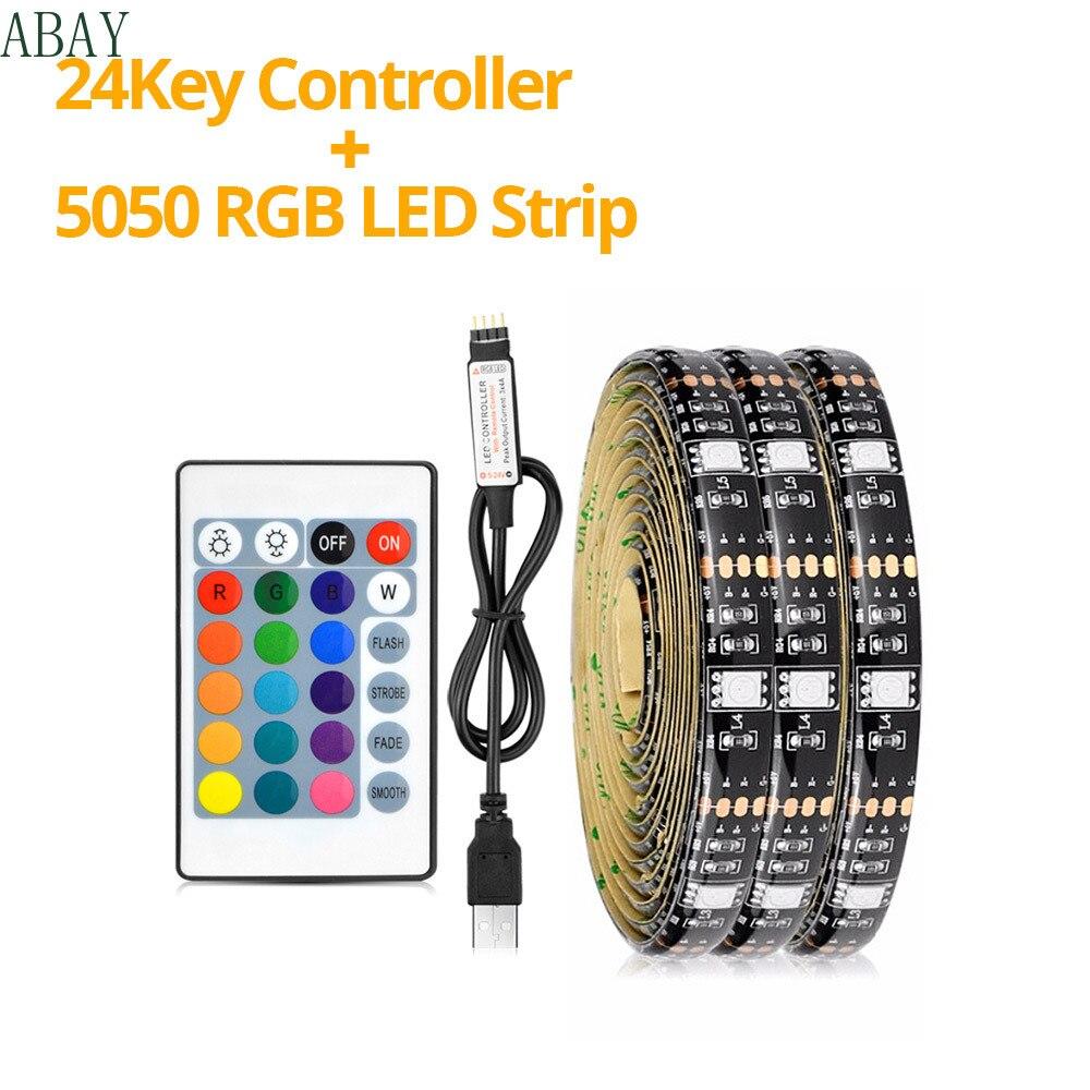USB de tira de luz LED 5050 RGB USB Flexible cinta de luz LED DC 5V RGB Color cambiante TV iluminación trasera no impermeable
