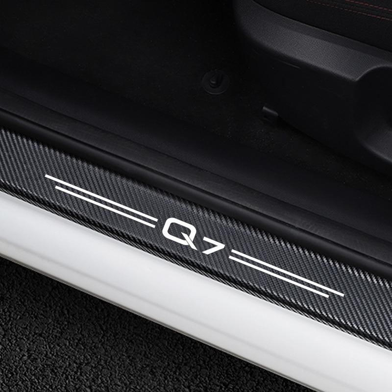 Para Audi Q7 Auto puerta umbral Anti-arañazos Protector de la cubierta de Accesorios 4 Uds de fibra de carbono alféizares de puertas de coche placa guardias pegatinas