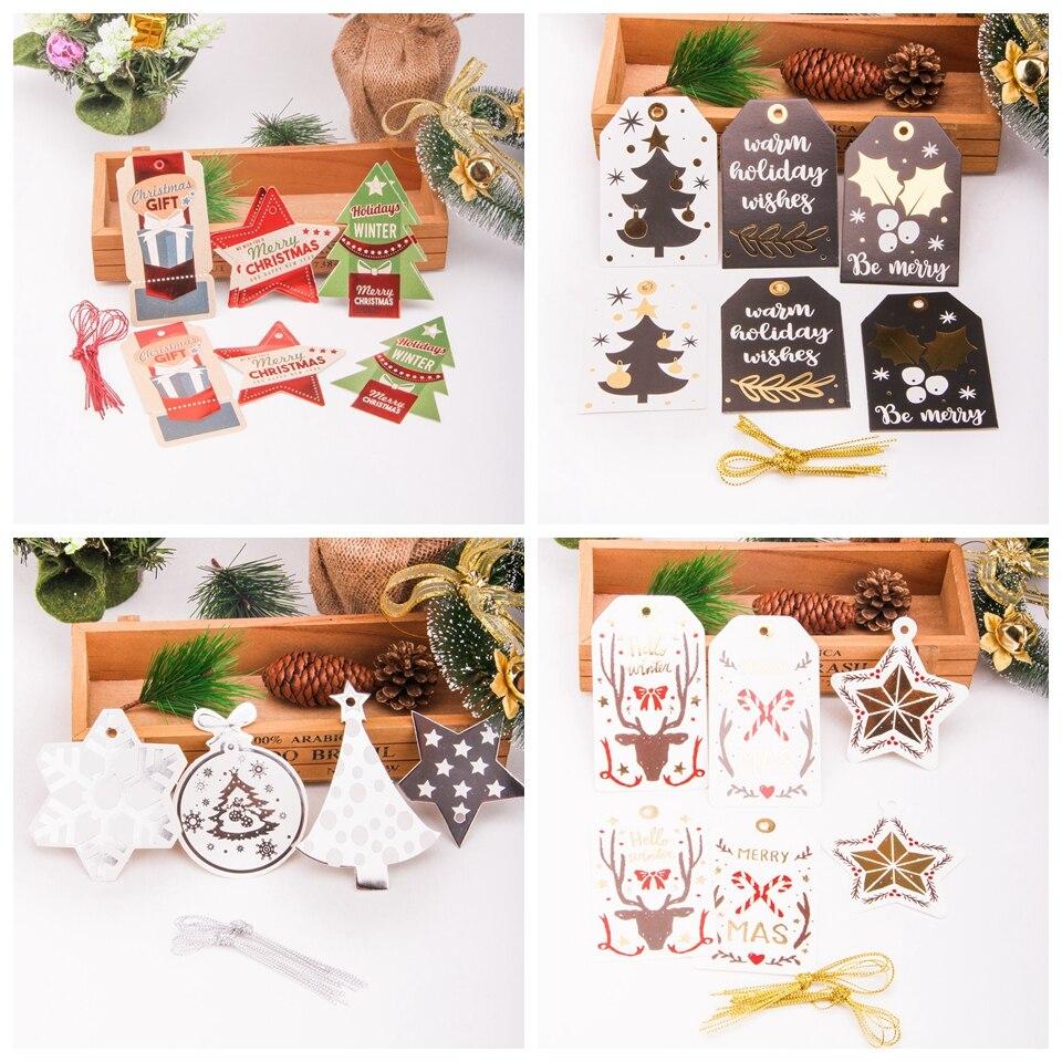 12 unids/set de etiquetas de papel para colgar Feliz Navidad, etiquetas de papel Kraft, etiquetas DIY, manualidades para álbum de recortes, regalos de Navidad/fiesta de boda