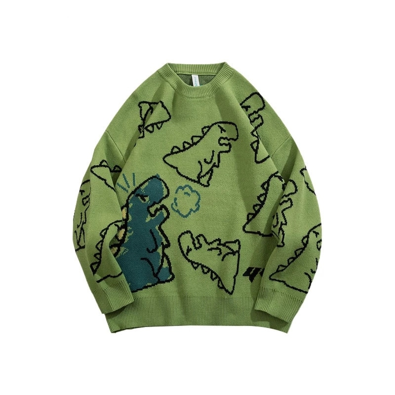 FOJAGANTO Sweater Men Harajuku Knitted Hip Hop Streetwear Dinosaur Cartoon Pullover O-Neck Oversize Couple Casual  Sweaters