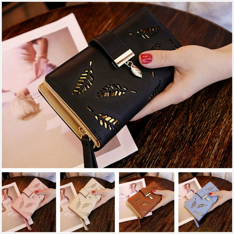 2019 New Women Lady Clutch PU Leather Leaf Wallet Long Card Holder Phone Case Purse Handbag Hot