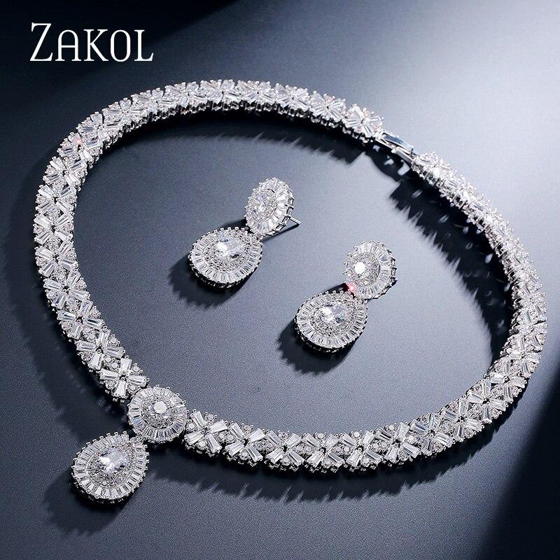 ZAKOL CZ Zirconia Necklace Earrings Set Nigerian Wedding African Costume Big Women Jewelry Set With Clear Crystal Stone FSSP232