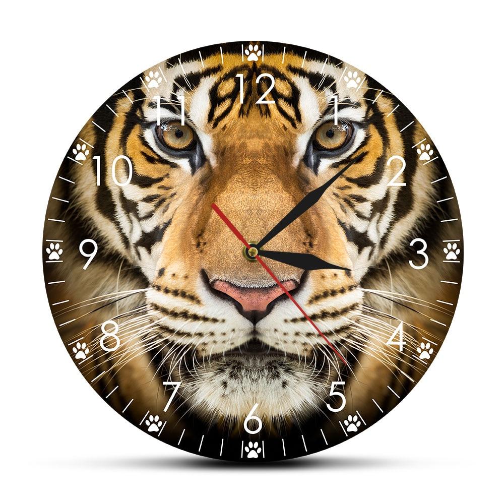 Animales salvajes siberiano cara de tigre 12 pulgadas colgando reloj de pared reloj de cuarzo operado por batería reloj de pared saat