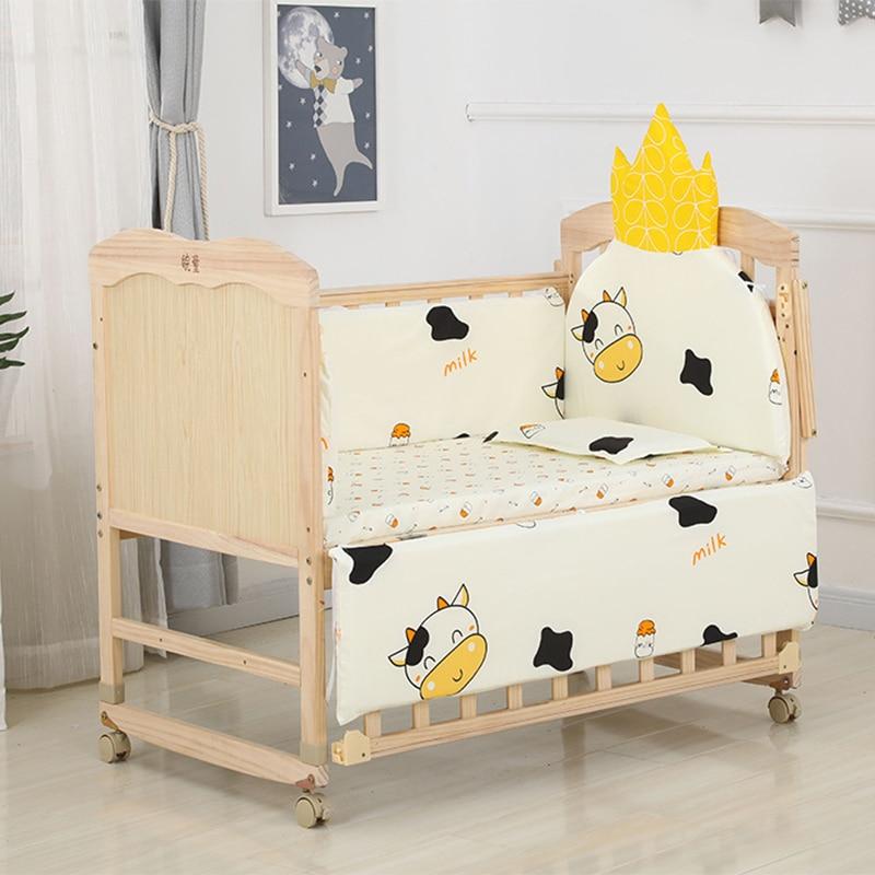 6pcs 60*120 Newborn Baby Bedding Set For Girl Boy Crib Bumper Protector Crown Design Baby Bed Bumper Bed Sheet Pillowcase ZT44