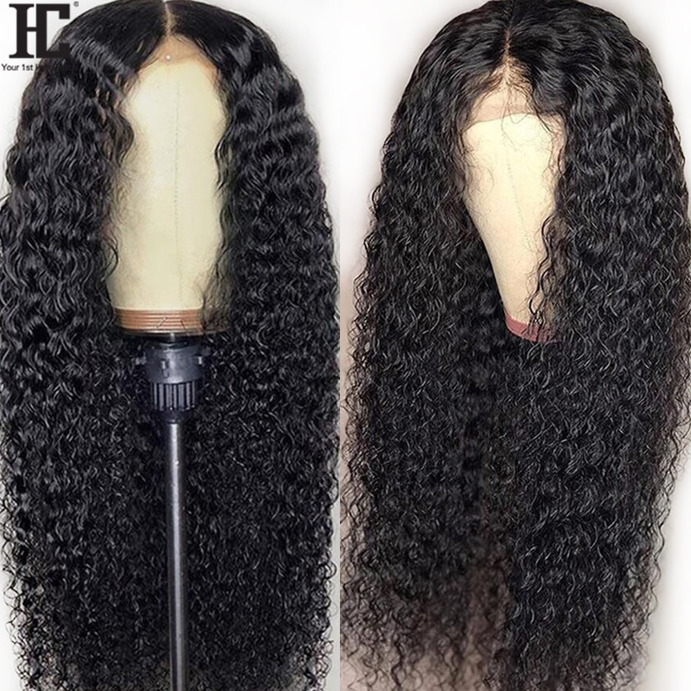 Kinky Curly Lace Wig Brazilian Remy Pre Plucked Human Hair Lace Wigs Bleached Knots 150% 13x1 Lace P