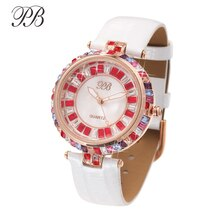 PB montre femme multicolore brillant cristal perle robe décontractée montres Étanche bracelet en cuir quartz marque de luxe