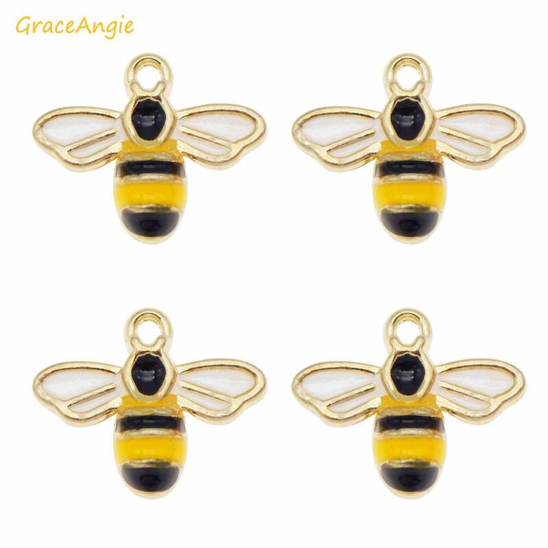 GraceAngie, 8 Uds., colgante de aleación esmaltado con abeja bonita, abalorios de tono dorado para collar, pulsera, pendientes, llavero, hallazgos en joyería