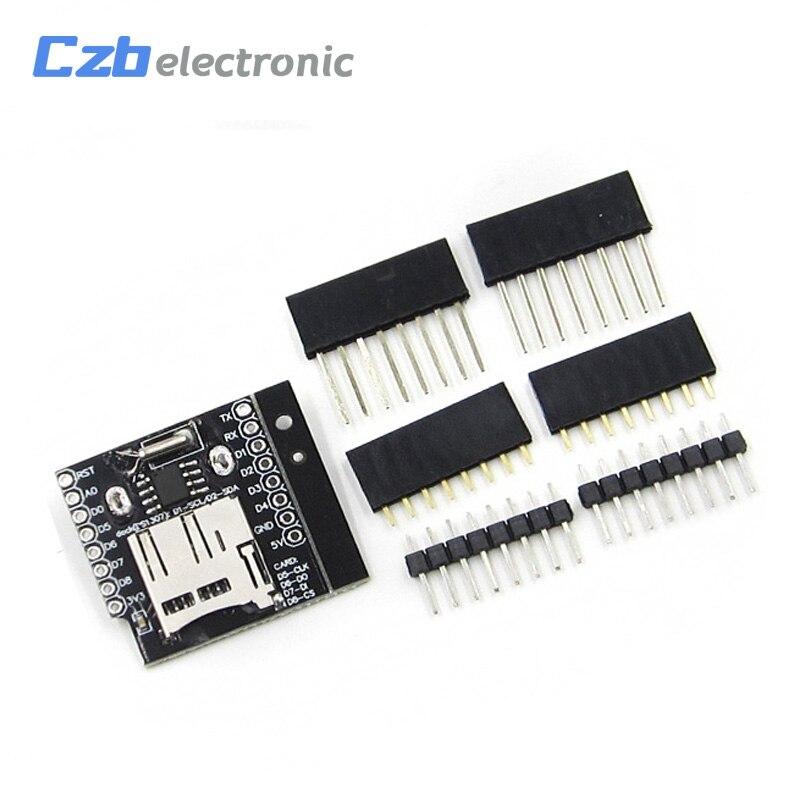 Circuitos integrados datalog escudo para wemos d1 mini rtc ds1307 com bateria + microsd com pino-cabeçalhos conjunto para wemos d1 mini