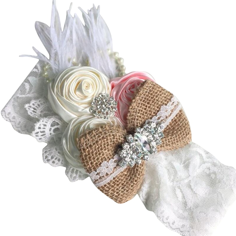 Vintage Flower Headband Baby Girls Headwraps Newborn Photography Props Gifts Lace Elastic Hair Bands Pearl Feather Accessories