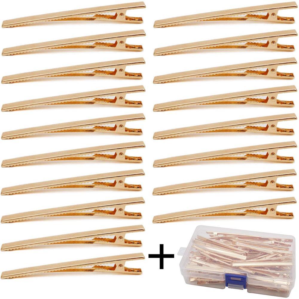 Clips Alligator dorés 3.15 pouces diy   Pour bricolage, nœuds, 60 pièces avec boîte, pinces à cheveux Alligator en métal, dents de bricolage Acci