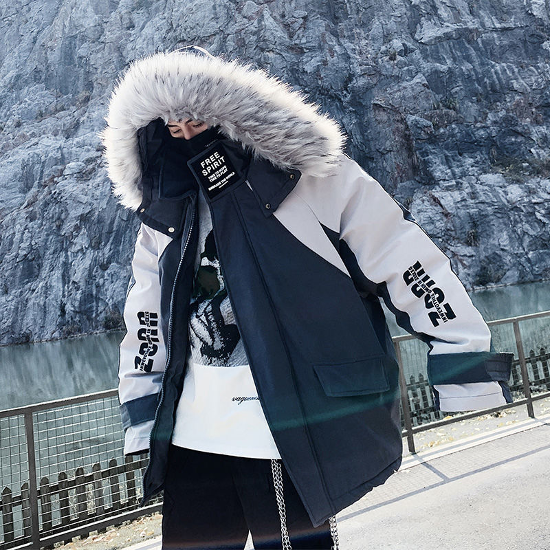 Privathinker men's 2020 winter new casual parkas oversize warm hooded clothing Thicken Zipper printed male hip hop parka