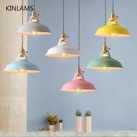 Подвесной светильник в стиле ретро-индастриал, цветные лампы для ресторана, кухни, домашняя винтажная Подвесная лампа с абажуром, декоратив...