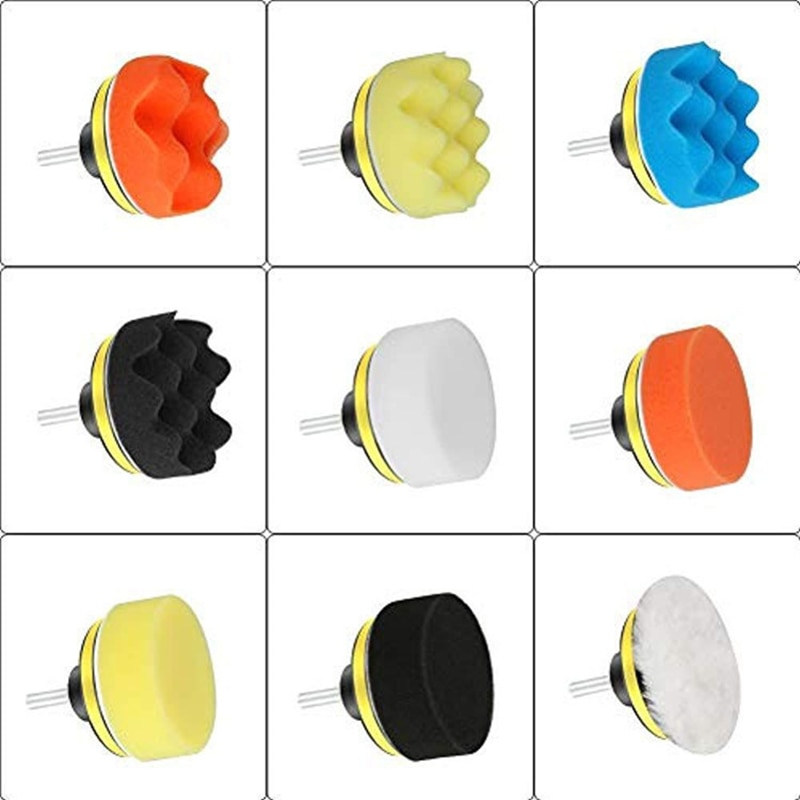 3inch Car Polishing Disc 11Pcs/Set Self-Adhesive   Buffing Waxing Sponge Wool Wheel Polishing Pad For Car Polisher Drill Adapter