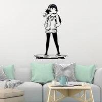 A la mode fille Skateboard fille Stickers muraux ameublement decoratif autocollant Mural pour garcons chambre decalcomanies murale
