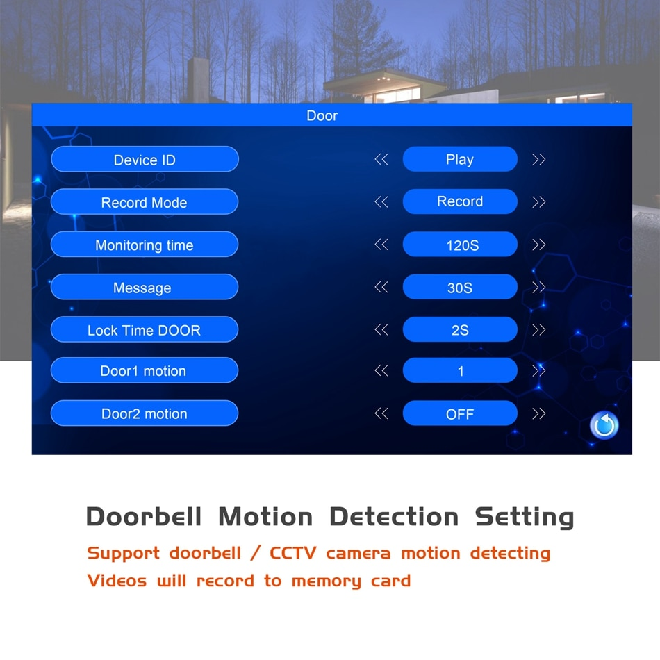 Wired Video Intercom for Home 7 Inch Monitor Display Analog Signal Maximum Support 2 Doorbells 2 Cameras Motion Detection Record enlarge