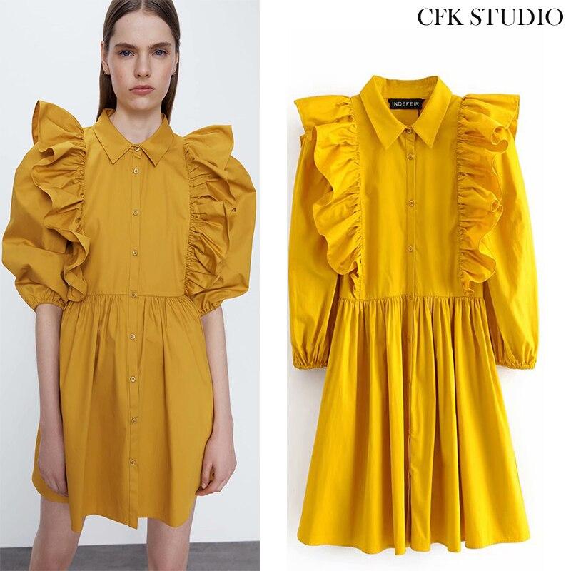 Vestido feminino minidress, vestido feminino amarelo corte em linha a gola babado manga comprida vintage verão 2020 za vestidos soltos