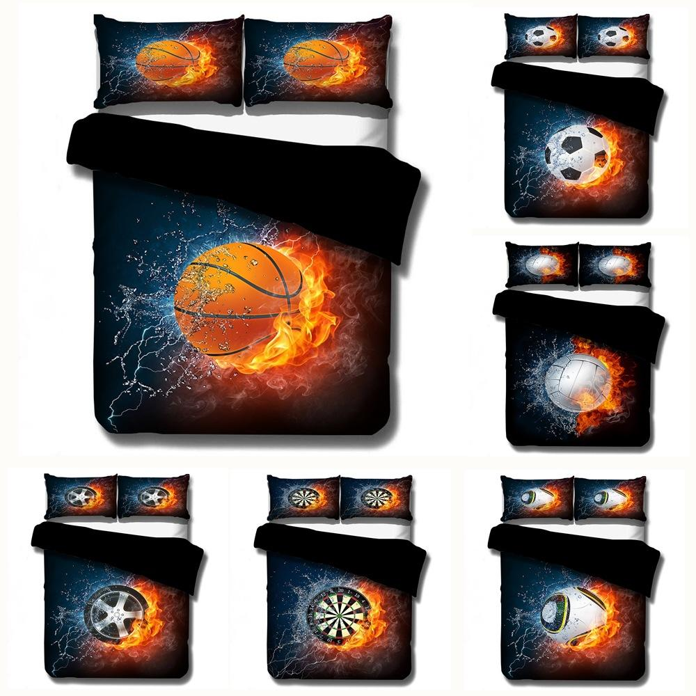 Home Textile 3D Printing Sport Basketball football Bedding Sets Duvet cover set Bedclothes kids Boy Gift Queen king size 2/3Pcs
