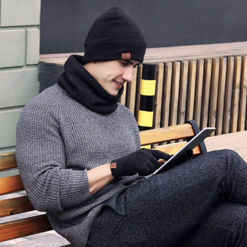 Набор мужских оригинальных перчаток зимняя вязаная плотная теплая шапка для женщин и мужчин однотонная Шапка-бини в стиле ретро набор мягк...
