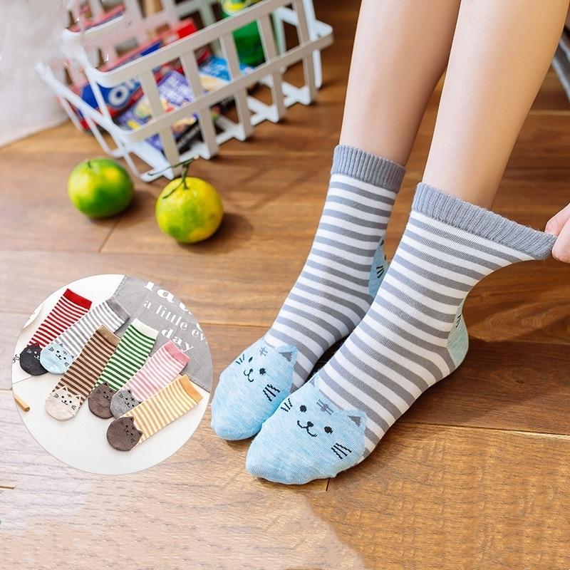 Cute Women Socks Funny Cat Cotton Stripe  Kawaii Long  Thigh High Socks Sweet Love  Japanese Korean Style High Quality