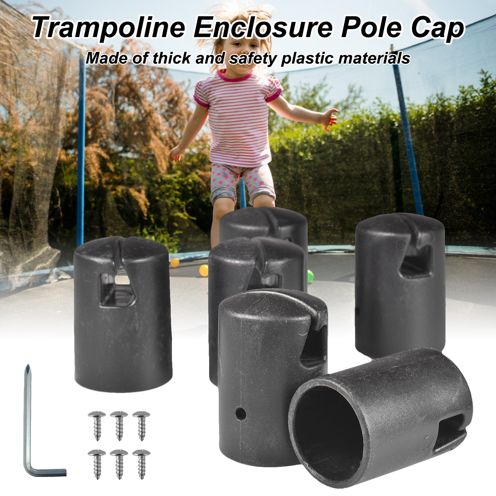 Trampoline Enclosure Pole Cap Diameter Trampoline Replacement Safety Caps For 1.26inch Trampoline Enclosure Pole 6Pcs